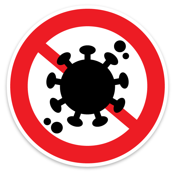 icon of Corona virus closed road sign