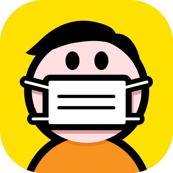 Surgical-style face mask illustration icon(conspicuous color scheme)