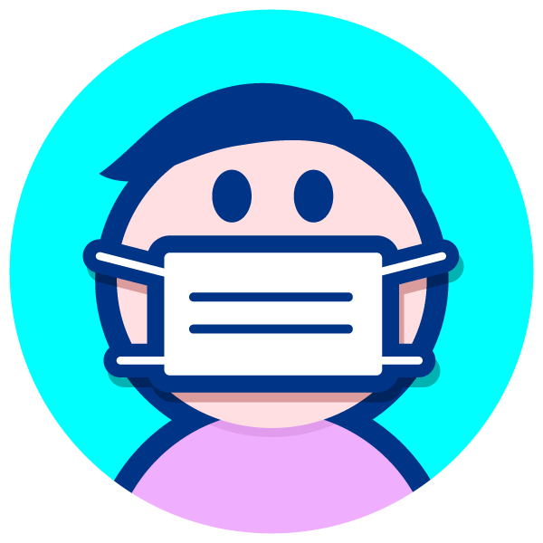 surgical-style face mask illustration round icon (clean color scheme)