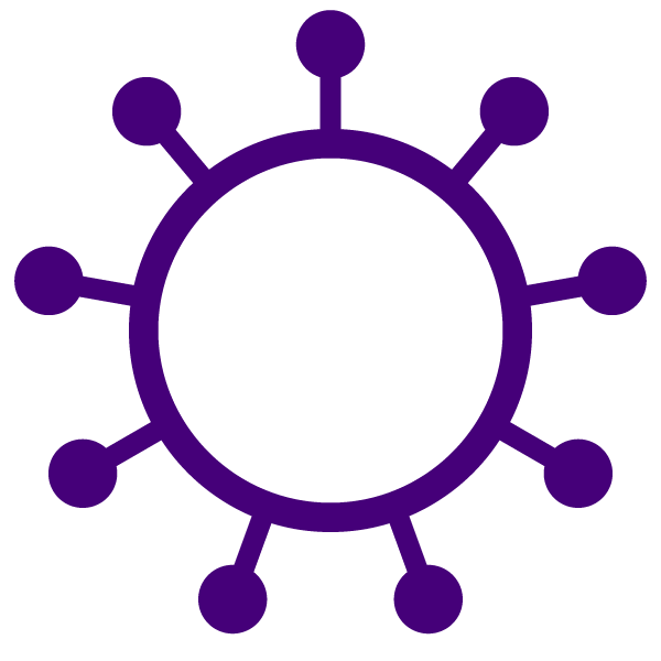 Coronavirus icon (simple line expression with color)