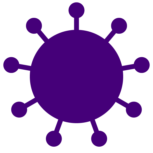 Coronavirus icon (simple solid color with color)