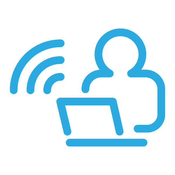 Remote work icon (light blue)