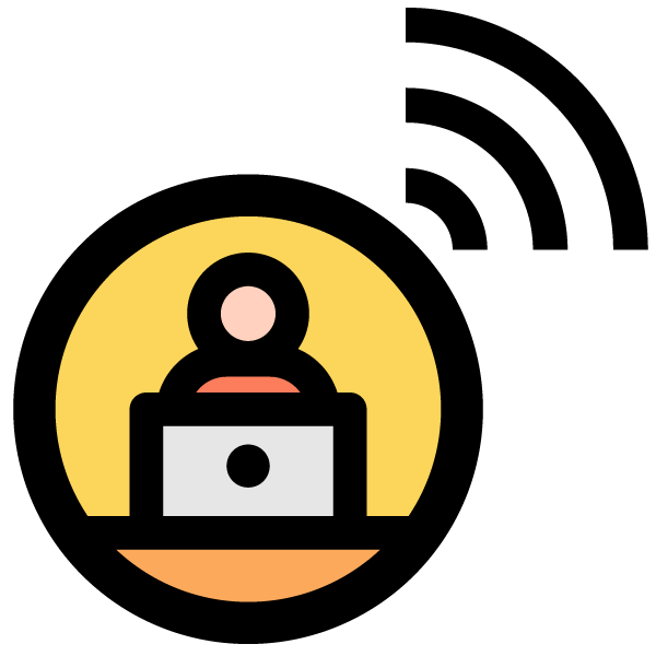 Remote work illustration icon (data transmission)