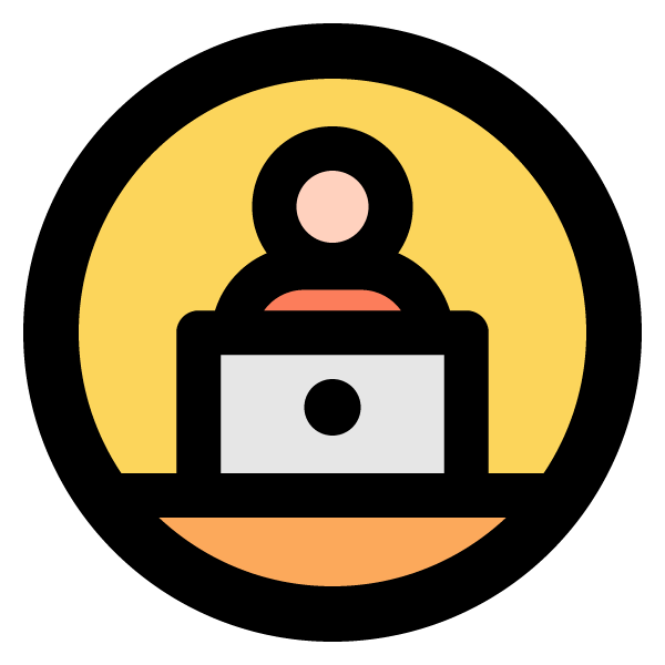 Remote work illustration icon (working on a notebook PC)
