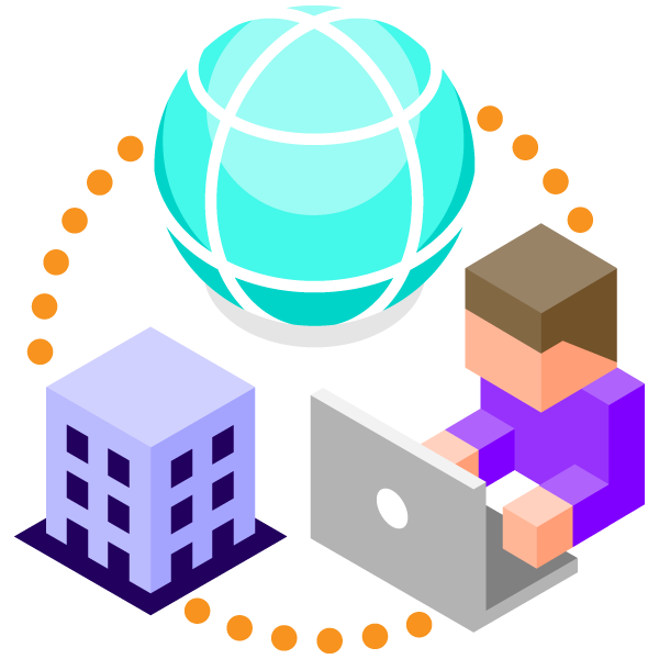 Remote work illustration icon