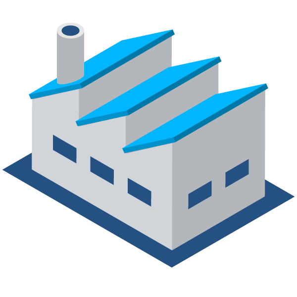 Factory illustration icon (blue)