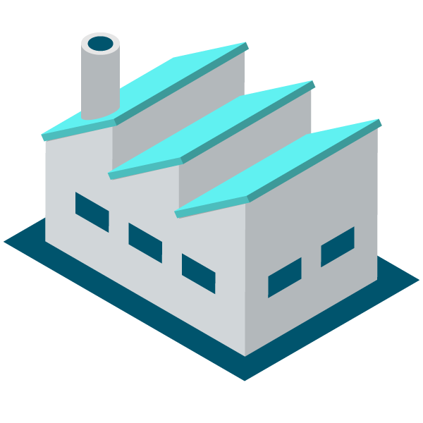 Factory illustration icon (bright blue)