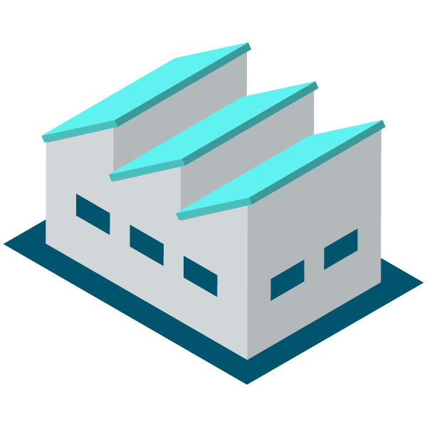 Warehouse / Factory (no chimney) illustration icon (bright blue)