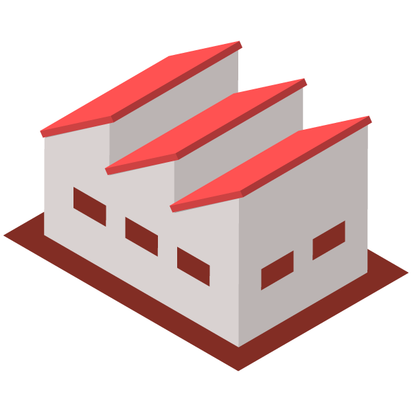 Warehouse / Factory (no chimney) illustration icon (red)