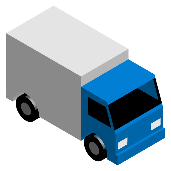 Transport truck illustration icon (blue)