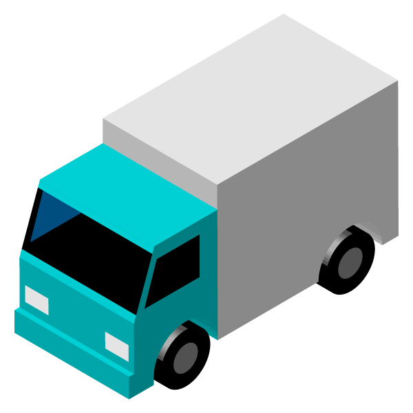 Transport truck illustration icon (turquoise blue green)