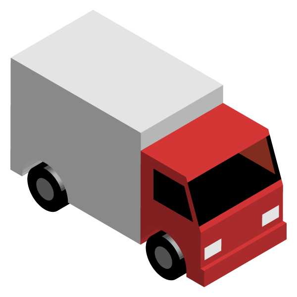 Transport truck illustration icon (red)