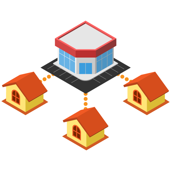 Diagram of online connection between large stores and homes