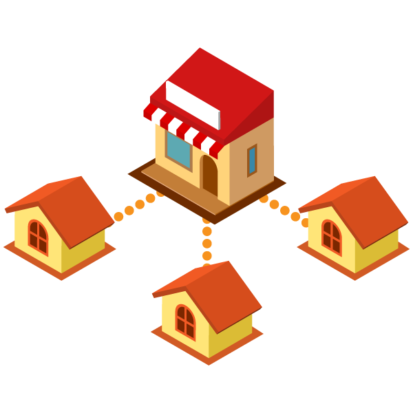 A diagram where the shop and each household are online
