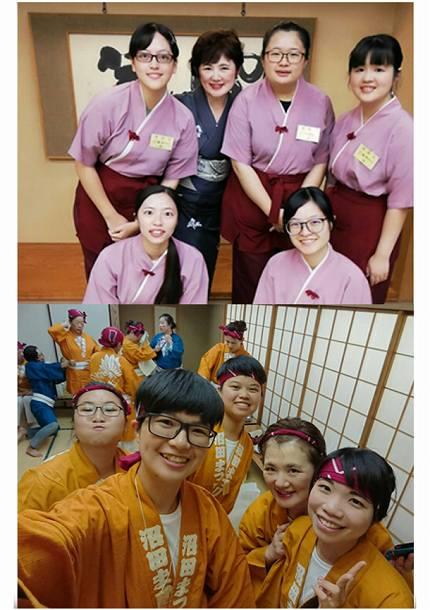 台湾からの実習生に囲まれる「猿ヶ京ホテル」女将の持谷美奈子さん(上写真の後列左から2人目)と研修生(下写真)