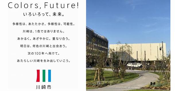 川崎市のブランドメッセージ(左)と川崎市殿町地区にある新産業創出オープンイノベーション拠点「KING SKYFRONT」(キングスカイフロント)(右)
