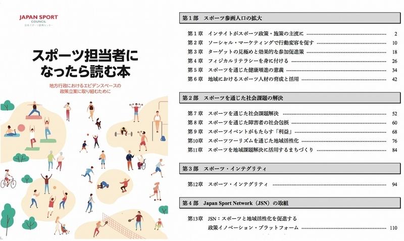 「スポーツ担当者になったら読む本」の表紙(左)と目次(右)