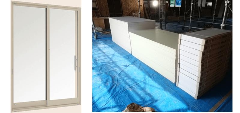 安価な住宅用アルミサッシ(左写真)と杉戸町の現場で使用している一般流通建材(内装材、右写真)