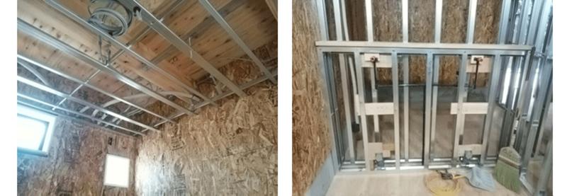 民間のノウハウを取り入れた杉戸町の施工例。木造に軽天下地を使った現場(左写真)と木造に軽量鉄骨壁下地を使った現場(右写真)。すべて木造で施工するよりもコストを低減できる