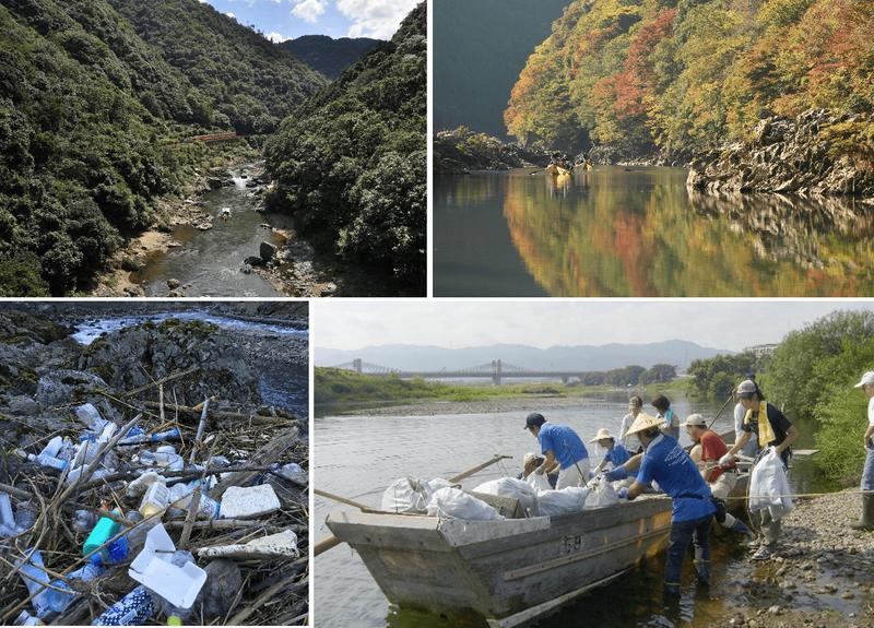 夏の深緑の保津川(上左)と秋の紅葉シーズンの保津川(上右)。下写真は保津川の川岸に漂着したプラスチックごみ(下左、提供:特定非営利活動法人プロジェクト保津川)と清掃活動の様子(下右、同)