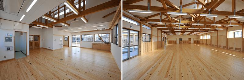 一番初めに実施した木造幼稚園「中央幼稚園」の管理棟(左)と遊戯棟遊戯室(右)