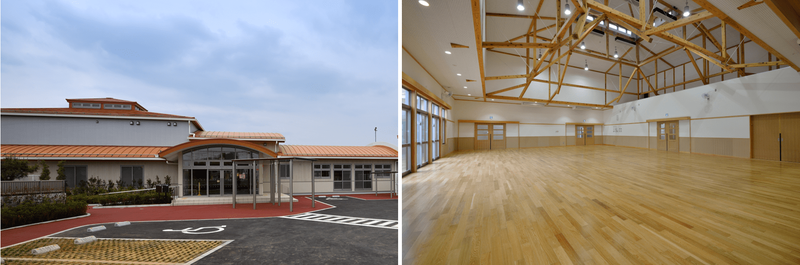プロポーザル方式を採用した3事例目のすぎと幼稚園保育園(左は外観、右は遊戯室)