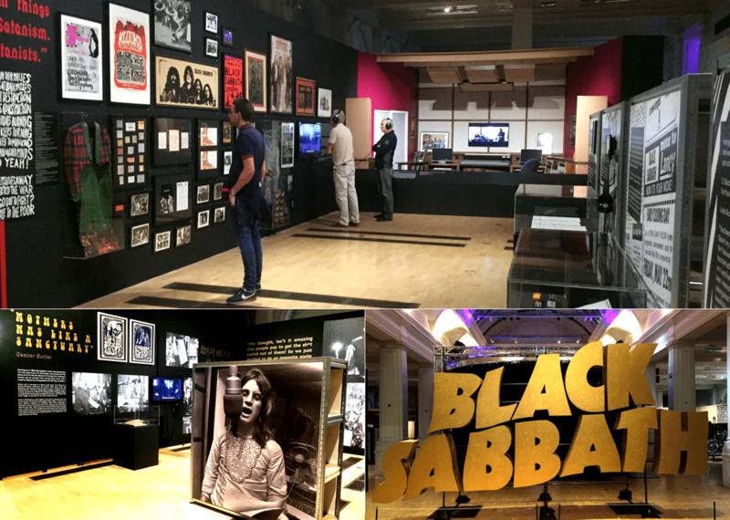 """2019年夏にバーミンガム美術館で開催されたブラック・サバス結成50周年を記念した回顧展 「ホーム・オブ・メタル:ブラック・サバスの50年」の様子。開催期間中、会場には世界中から多数のメタルファンが訪れていた(筆者撮影)。ブラック・サバスは1968年にバーミンガムで結成されたロックバンド。世界市場でのセールスレコードは7,000万枚を超えるとされる。""""ヘヴィメタルのルーツ""""として多くのロックバンド、アーティストからリスペクトされ、ポップ・カルチャー全般に多大な影響を与えた。バンド結成から50年を超えて現在も活動中"""