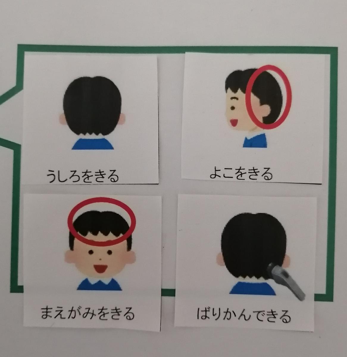 散髪の絵カード