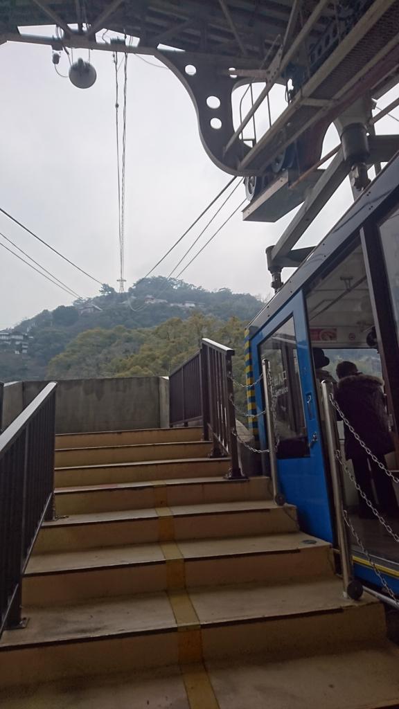 千光寺山頂上行きのロープウェイ 景色