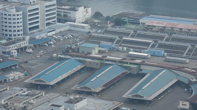 築地市場が閉場後、1ヶ月後の様子を上空から全体を撮影