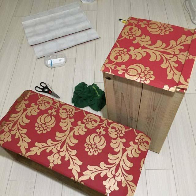 リンゴ箱を輸入壁紙アレンジでカスタムDIY!簡単オリジナル収納の作り方