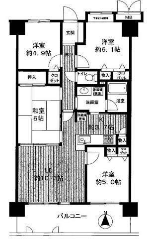 結婚当初暮らしていた82平米マンションの間取り図