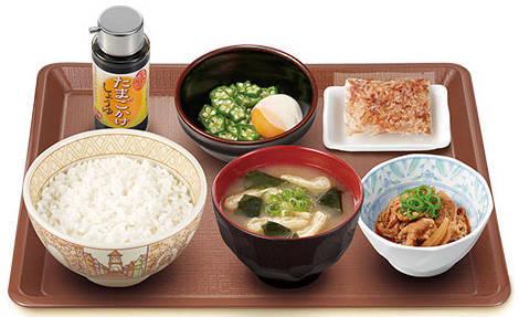 すき家の朝定食「まぜのっけごはん朝食」詳細