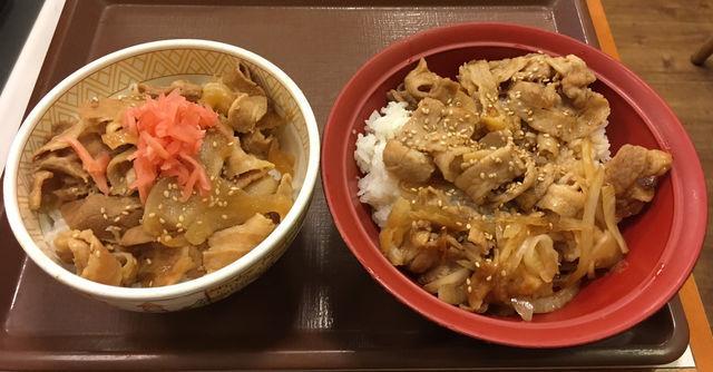 すき家の「豚生姜焼き丼」と「豚丼」を比較してみる
