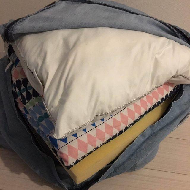 布団収納袋 フェリシモ 古着屋さんで見つけたような ユーズド加工の くたくた収納デニムザブトンの会【送料無料】