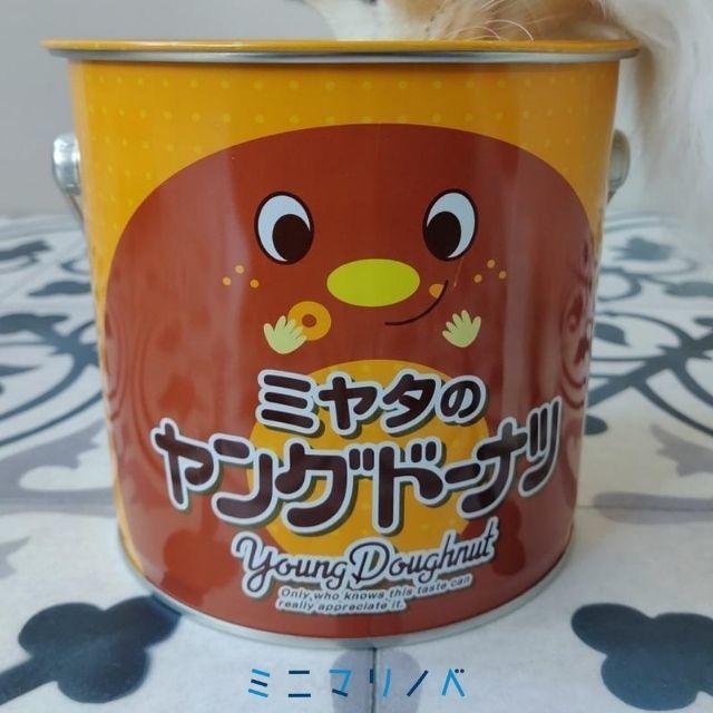 正面:ミヤタのヤングードーナツBIG缶ミニ|アミューズメントプライズ品