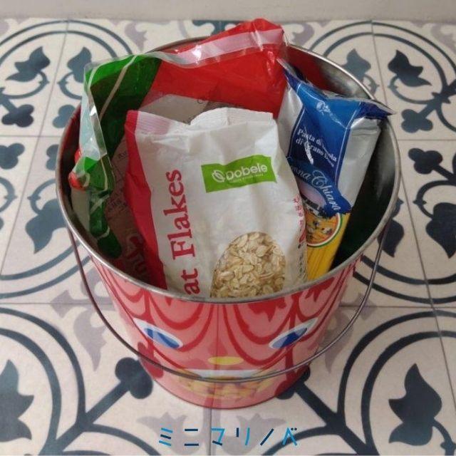 東ハト キャラメルコーン特大ペール缶|真っ赤なポップでかわいいお菓子缶