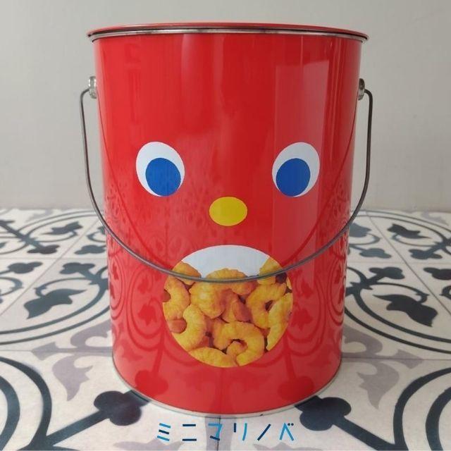 裏面:かわいい缶:東ハト キャラメルコーン特大ペール缶の写真
