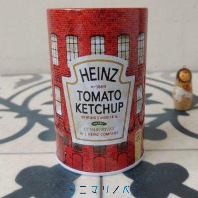 【ハインツデミグラスソースのノベルティ缶の正面写真】