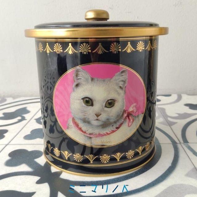 ラ・サブレジエンヌのクッキー缶「シャ・ブラン」|猫がかわいい黒い丸缶
