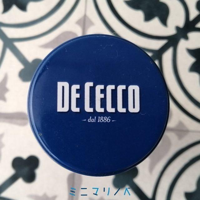 【ディチェコの缶入りパスタのパスタ保存缶、蓋の写真】