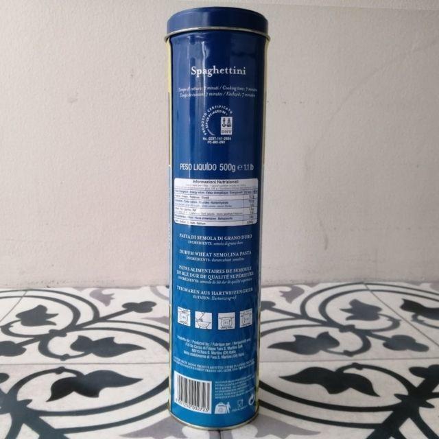 【ディチェコの缶入りパスタのパスタ保存缶の裏面写真】