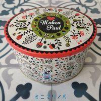 メリーチョコレートのマキャプートクランチチョコ缶 北欧ファンシーな小判形缶