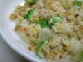 昨日の毛蟹の残りでカニレタスチ炒飯。
