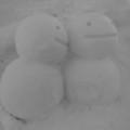 [雪だるま][モノクロ]