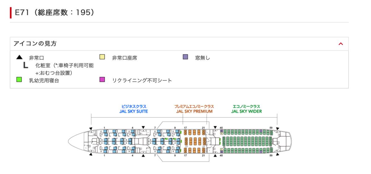 JL 741 Boeing 787-9B シートマップ