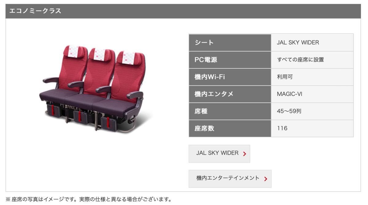 JL 741 Boeing 787-9B シートマップ エコノミークラス