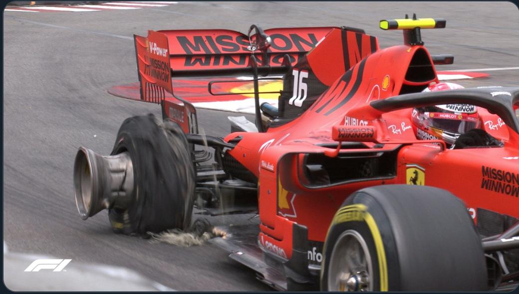 F1 モナコグランプリ 2019 ルクレールがダメージを負う