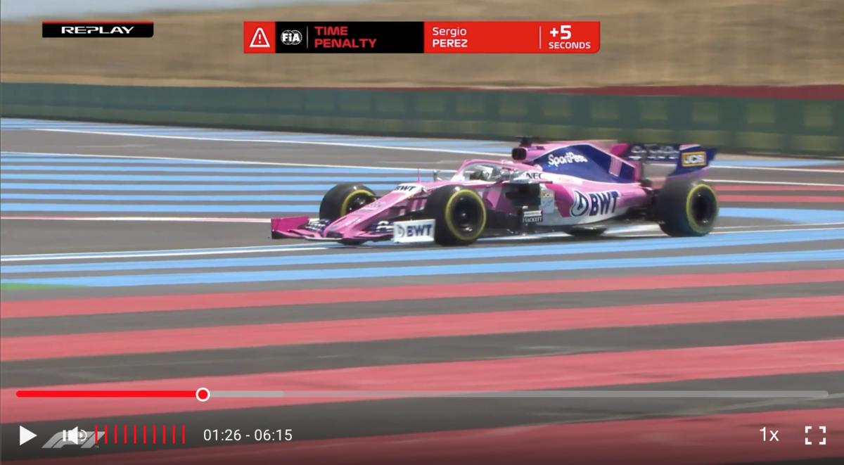 F1 フランスグランプリ 2019 ペレス 5秒ペナルティ