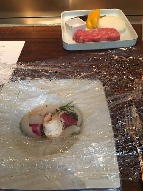 鉄板焼 けやき坂 ランチメニュー 鱸(すずき)と野菜入り包み焼き トリュフストック